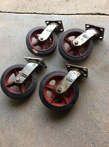 Lot Of 4 Hamilton 8 X 2 Angled Swivel Plate Caster Heavy Duty Castors