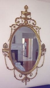 Classic Oval Adam Style Gold Hanging Wall Mirror Leaves And Flora