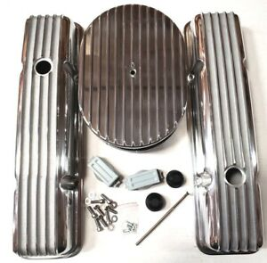 Sb Chevy Polished Aluminum Finned Tall Engine Dress Up Kit Fits 59 86 283 350