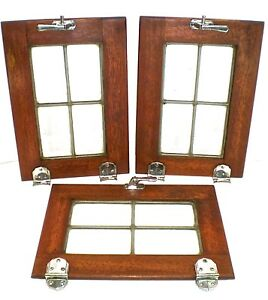 3 Antique Ice Box Chest Doors Small 10 X14 5 Leaded Chrome Latches Hinges