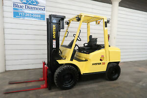 Hyster H70xm 7 000 Pneumatic Tire Forklift Diesel three Stage 3 Way sideshift