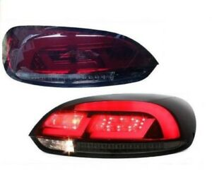 Red Smoked Finish Led Tail Rear Lightbar Lights For Vw Scirocco 08 14
