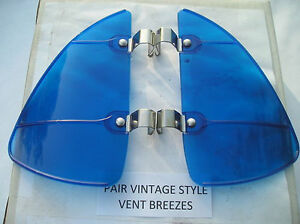 New Pair Of Blue Colored Vintage Style Air Vent Deflectors