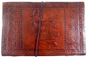 Elephant Embossed Handmade Leather Journal Notepad Notebook Blank Paper Diary E8