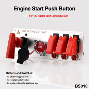 Universal Ignition Switch Engine Start Push Button 3 Toggle For Racing Car Auto