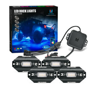 Mictuning upgraded Rgbw Led Rock Lights Bluetooth Controller Off Road 4 Pods