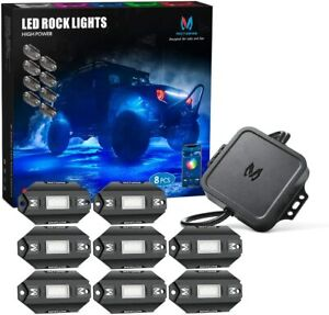 Mictuning upgraded Rgbw Led Rock Lights Offroad Bluetooth Music Timing 8 Pods