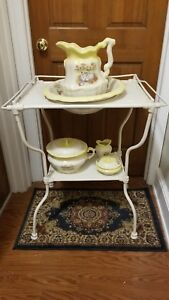 Antique Victorian Wrought Iron Wash Stand And 5 Piece Ironstone Wash Set