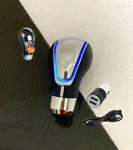 Touch Activated Sensor Blue Led Light Usb Charge Car Auto Gear Shift Knob 4