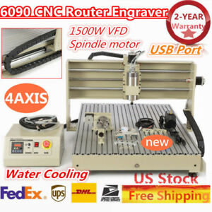 4 Axis 6090 Usb Cnc Router Engraver Vfd 1 5kw Cutting Milling Machine Desktop Us