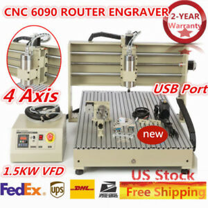 6090 4 axis Cnc Router Engraver Milling Drilling Usb Cutting Desktop 1 5kw Vfd