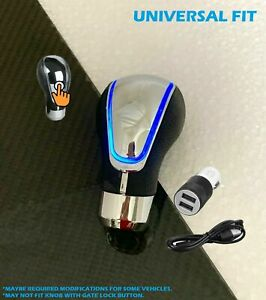 Touch Activated Sensor Blue Led Light Usb Charge Car Auto Gear Shift Knob 3