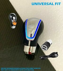Touch Activated Sensor Blue Led Light Usb Charge Car Auto Gear Shift Knob 7