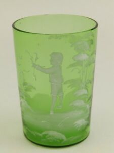 Antique Mary Gregory Green 3 1 2 Tumbler Juice Glass Boy W Flowers
