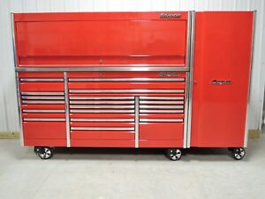 Snap On Candy Apple Red 84 Epiq Tool Box Stainless Steel Top Hutch