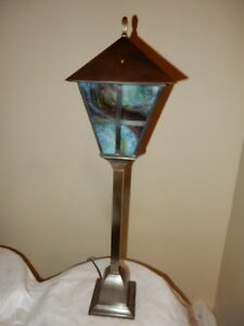 Arts Crafts Newel Post Light Fixture Chandelier W Slag Glass Shade
