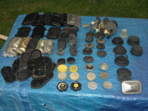 Large Lot Of Brake Master Cylinder Lids Gaskets And Related Used Old Stock