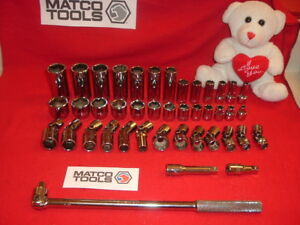 Vintage 42 Pc Matco 3 8 Drive Sae Socket Set Shallow deep swivel In Metal Box