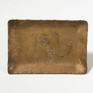 Antique German Folk Art Brass Tray Engraved Bremen Coat Of Arms 5 X 3 5