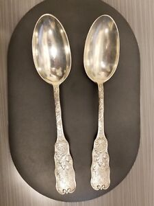 Large Sterling Silver Gorham St Cloud Serving Spoons Set Of 2 2 66oz Each