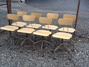 Lot Of 8 Vtg Matching Toledo Drafting Stools On Wheels Adjust 16 To 22 Nice
