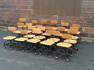 Lot Of 23 Toledo Vtg Matching Drafting Stools On Wheels Adjust 16 To 21 Nice