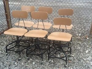 Lot Of 6 Vtg Matching Toledo Drafting Stools On Wheels Adjust 16 To 21 Nice