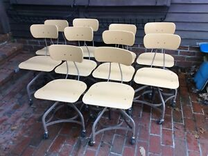 Lot Of 10 Vtg Matching Toledo Drafting Stools On Wheels Adjust 16 To 21 Nice