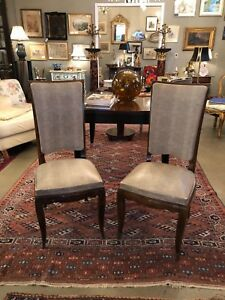 Pair Of French Art Deco 1930 S Mahogany Faux Shagreen Dining Chairs Bronze Feet