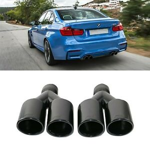 For Bmw Car Black Round Dual Exhaust Tip Set 2 5 Inlet M Performance Style F10