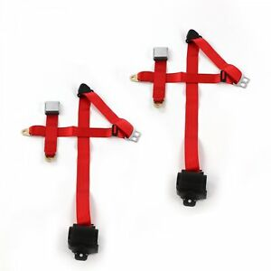 Ford Mustang 1967 1970 Airplane 3pt Red Retract Bucket Seat Belt Kit 2 Belts