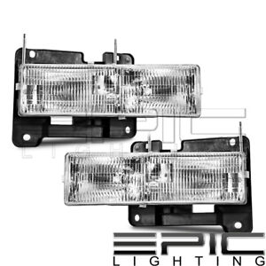 Left Right Sides Pair Head Lamps For 1990 2000 Chevrolet Silverado C1500 K1500
