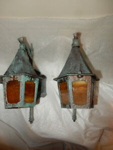 Spanish Revival Tudor Arts Crafts Porch Lights With Amber Glass