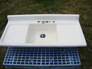 Vintage 54 Cast Iron Kitchen Sink With Double Drainboard Farmhouse Sink