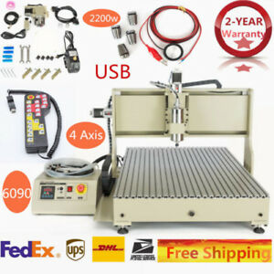Handwheel sfu1605 4 Axis Cnc Router Engraver Milling Carving Machine 6090 Usb