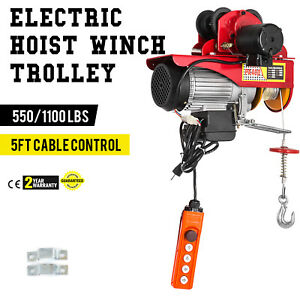 Electric Wire Rope Hoist W Trolley 40ft 550 1100lb Anti corrosion 12m 40ft