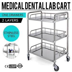 Stainless Steel 3 Layers One Serving Medical Dental Lab Cart Trolley Sh