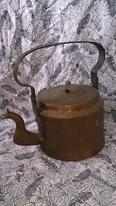Large Antique Handmade Copper Kettle Rustic Campfire Kettle
