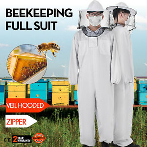 Beekeeping Full Suit Round Veil hooded Zipper Cargo Pocket Breathable Necessity