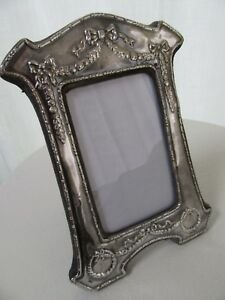 Big 9 Vintage Sterling Silver Picture Frame Ribbon Wreath Repousse England