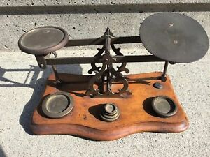 Antique Balance Scale With 6 Brass Nesting Stacking Weights S Mordan