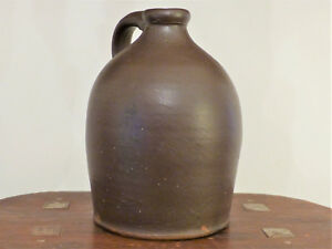 Antique 19th C Pa Clay Redware Glazed Crock Jug Short Applied Handle 1