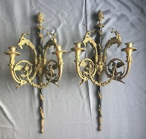 Antique Gas Pair French Neoclassical Bronze Figural Wall Sconces Goat