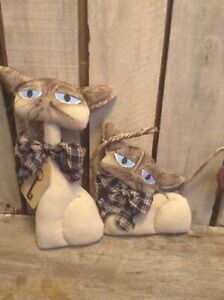 Primitive Grungy Kitty S Cat Siamese Folk Art Valentine