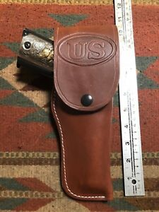 FITS Colt Cimarron Sig Sauer STI RIA 45 M 1911 Tanned Leather Flap Field Holster