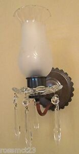 Vintage Lighting Matched Pair 1940s Crystal Sconces By Homart