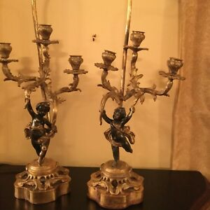 Pair Of Antique French Bronze Candelabras Lamps With Cherubs Circa 19 Century