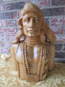 Hand Carved Wood Native American Indian Bust