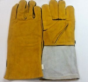 Lot Of 8 Pair Leather Welding Work Gloves 14 Size Large