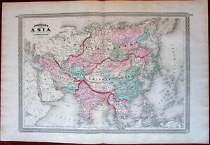 Asia Arabia India China Russia C 1867 Engraved Original Hand Color Old Map